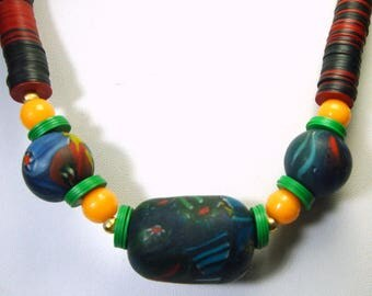 African Bead Necklace, 1970s Vinyl Recycled Record Disc Beads, Indian Millefiore Glass Red Blue Black Green, Yellow Glass