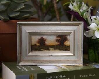 """Last Light - Framed 2""""x4"""" Original Landscape Oil Painting by Megan Gray Arts"""