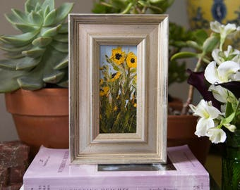 "Sunflowers #1 - Framed 2""x4"" Original Sunflower Oil Painting by Megan Gray Arts"