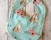 Personalized Girly Tee Pee Boho Style Teal Baby Bibs Backed in Cream Chenille Sweet Tribal Theme Handmade New Baby Present