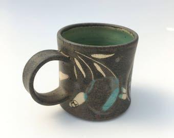 Handmade pottery Mug in Modern Charcoal Floral