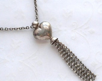 ON SALE - Unique Sterling Silver Puffed Heart Bell Necklace with Faceted Ball Chain Tassel Dangle
