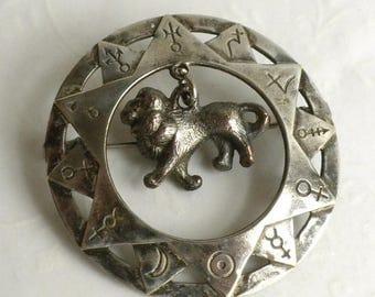 SUMMER SALE Vintage Astrological Brooch - Leo the Lion - Zodiac Brooch