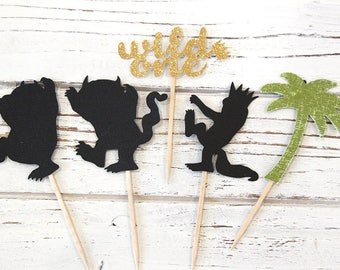 Where the Wild Things are Cupcake Toppers - Set of 12 - Wild One, Wild Thing party decorations