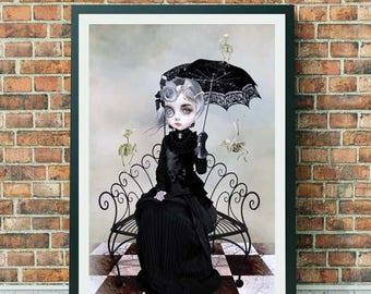 Lowbrow Girl Art Print - Lowbrow Art Print - Bird Skeleton Art - Wall Decor - You Will Always Be A Part Of Me