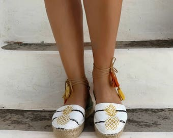 Pineapple Print Lace up Espadrilles Sandals. Boho Women's Sandals. Hippie Greek Sandals. Gift for Her