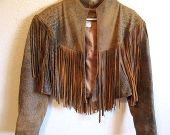 Vintage 80's Brown Leather Cropped Fringe Jacket Cowgirl Western Obssetion Made in USA Small Medium