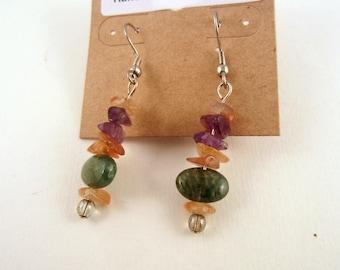 Gem stone  earrings melody moss agate carnelian amethyst