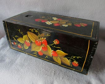 Vintage Hand Painted Tole Dovetailed Wood Box with Strawberry Motif