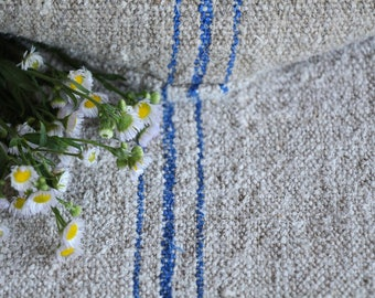 E 459: antique handloomed CORNFLOWER BLUE ;grainsack, pillow, cushion, runner, 48.03 long,upholstery project,french lin,decor