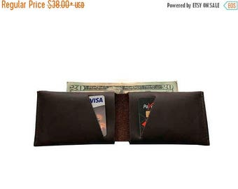 15% OFF Dark Brown Leather Slit Wallet Coin Money Purse For Men & Women - Accessories Collection