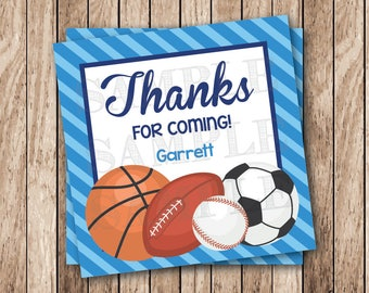 Personalized Printable Sports Party Tags, Printable Thanks For Coming Tags, Sports Birthday Party Favor Tags, Sports Balls Tags, Sports Tags
