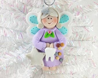 Tooth Fairy Christmas Ornament - Keepsake Ornament - Handmade  Milestone Polymer Clay Tooth Fairy Ornament - First Tooth Ornament - 678
