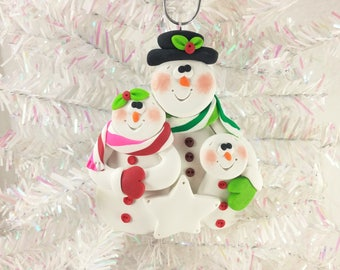 Snowman Family Christmas Ornament - Snow Family of Three - Gift for Family of Three - Polymer Clay - Snowman Collector Ornament - 61317