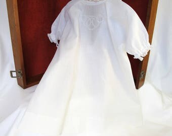 Antique Long White Baby or Doll Gown Vintage White on White Embroidery Nursery Decor Display Wall Hanging Worn Shabby Clothing to Hang