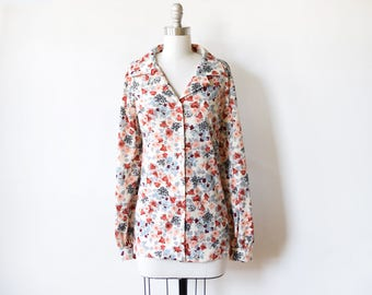 70s floral blouse, vintage 70s disco shirt, 1970s flower print button up shirt, extra large xl