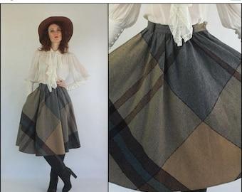SUMMER SALE Vintage 70's Wool Plaid High waist Preppy Boho Flared Full circle Midi skirt XS S