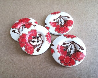 1.5 inch buttons - Red flowers wooden sewing buttons - set of 4
