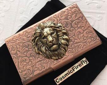 Copper Lion Business Card Case Steampunk Card Case Card Holder Gothic Victorian Style Card Case New Handcrafted Card Case Vintage Style Leo