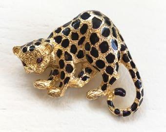 Vintage Signed Park Lane Leopard Cat Enamel Pin Brooch