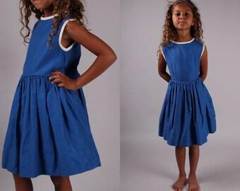 vintage 1950s dress blue white circle skirt kids girls children rockabilly