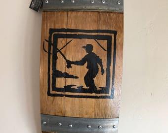 Wine Barrel Wall Art - Fisherman