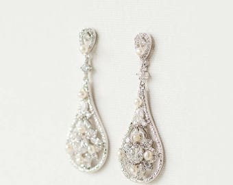 CZ Wedding Earrings, Bridal Earrings, CZ Drop Earrings, Wedding Jewelry