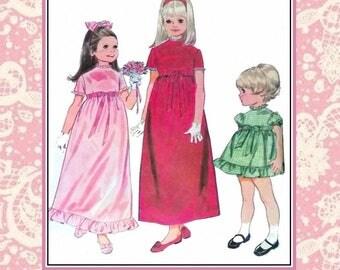 Vintage 1968-EMPIRE WAIST DRESS-Sewing Pattern–Three Styles-Ruffles-Lace-Ribbon -Bows Trims-Short Sleeves-Size 6-Rare