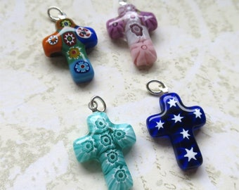 Venetian glass beads cross pendants millefiori