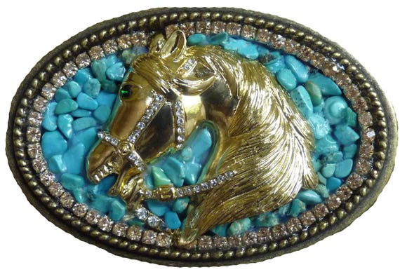 Women's Western Belt Buckle, Horse Belt Buckle, Turquoise Belt Buckle, Bling Belt Buckle