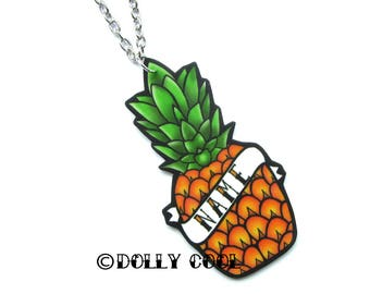 Pineapple Necklace Custom Personalized Name - Your choice of word - Hand Made by Dolly Cool Rockabilly 50s Tiki Tropical