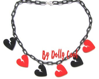 Broken Heart Necklace by Dolly Cool Super cute and Retro Vintage Anti Valentine 50s style