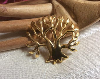 Vintage high polish goldtone tree brooch, modern style multi branch tree pin