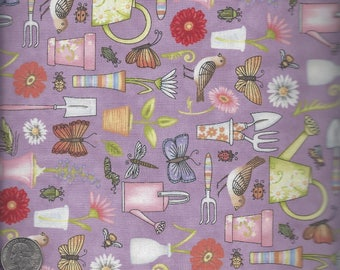 Sale!  April Showers - Purple Garden Tools (9252-55)  - by the piece - 2 yards