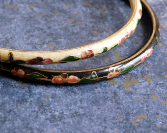 Pair of Vintage Chinese Cloisonne Bangle Bracelets - 1970s Enamel Set - One Cream, One Black w/ Maroon Flowers - Brass Wires - Mod Jewelry