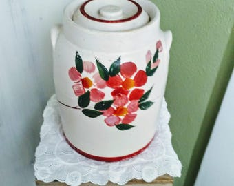 Antique McCoy Bisque Glazed and Cold Painted Cookie Jar with Lid