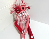 Stuffed Monster - Monster Plush - Handmade Plush Monster - Hand Embroidered OOAK  Toy - Frosted Red Faux Fur -  Weird Cute Plush Monster