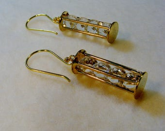 Stacks of Crystals-gold and glass earrings, 2 inches or 4.5 cm