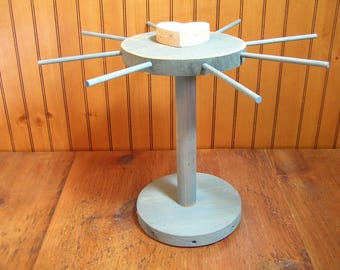 Vintage Round Wood Tabletop Peg Display Rack, Jewelry Display, Ornament Display
