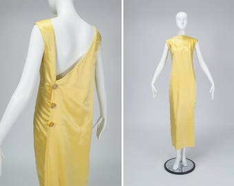 vintage 60s Balenciaga-inspired yellow satin column gown, high cowl neck, asymmetrical V back, watteau train, citrine rhinestones size M - L