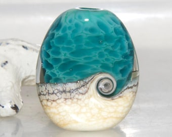 Speckled Turquoise Beach Swirl Lampwork Glass Focal Bead