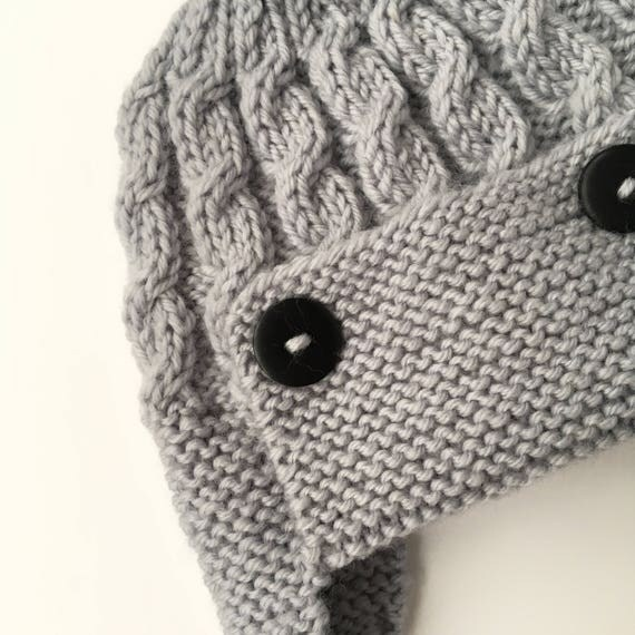 Knitting Pattern For Baby Pilot Hat : Baby Aviator Hat PDF Knitting Pattern, Cabled Aviator Hat Pattern, Baby Earfl...
