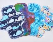 "SALE Set of 4, 8"" Pantyliner, Cotton Panty Liners, Reusable Cloth Menstrual Pad, Floral Cotton Flannel, MotherMoonPads Light Flow Cloth Pad"