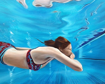 underwater swimmer painting stretched canvas