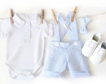 Blue Seersucker Shortall Outfit, Baby Boy First Birthday, Boys Birthday Outfit, Toddler Boys Outfit, 1st Birthday Outfit, Baby Boy Wedding