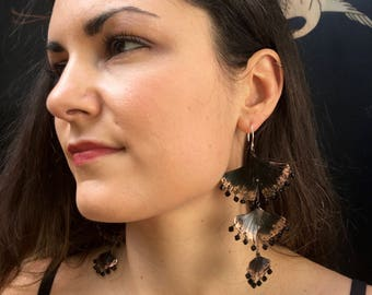 3 tier ginkgo earrings with jet swarovski crystal - hand crafted copper