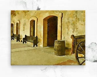 "Old San Juan Fort - San Juan Puerto Rico - Canvas Art Print - Puerto Rico Art - Puerto Rican Art - Travel Photo - Canvas Wall Art 16""x20"""