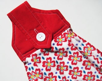Hanging kitchen towel  button top quilted  cotton  top Pioneer Woman red