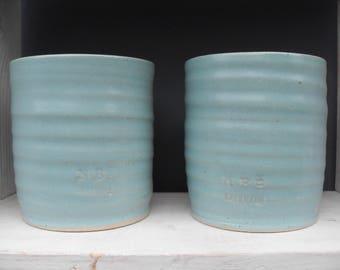 2x Large Coffee Beakers in Greeny Blue Celadon Glazes