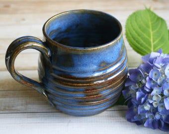 Handmade Rustic Blue and Brown Mug Pottery Coffee or Tea Cup Wheel Thrown Stoneware 17 oz. Ready to Ship Made in USA